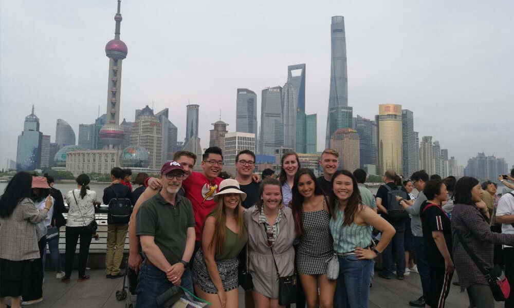 Students with professor in China