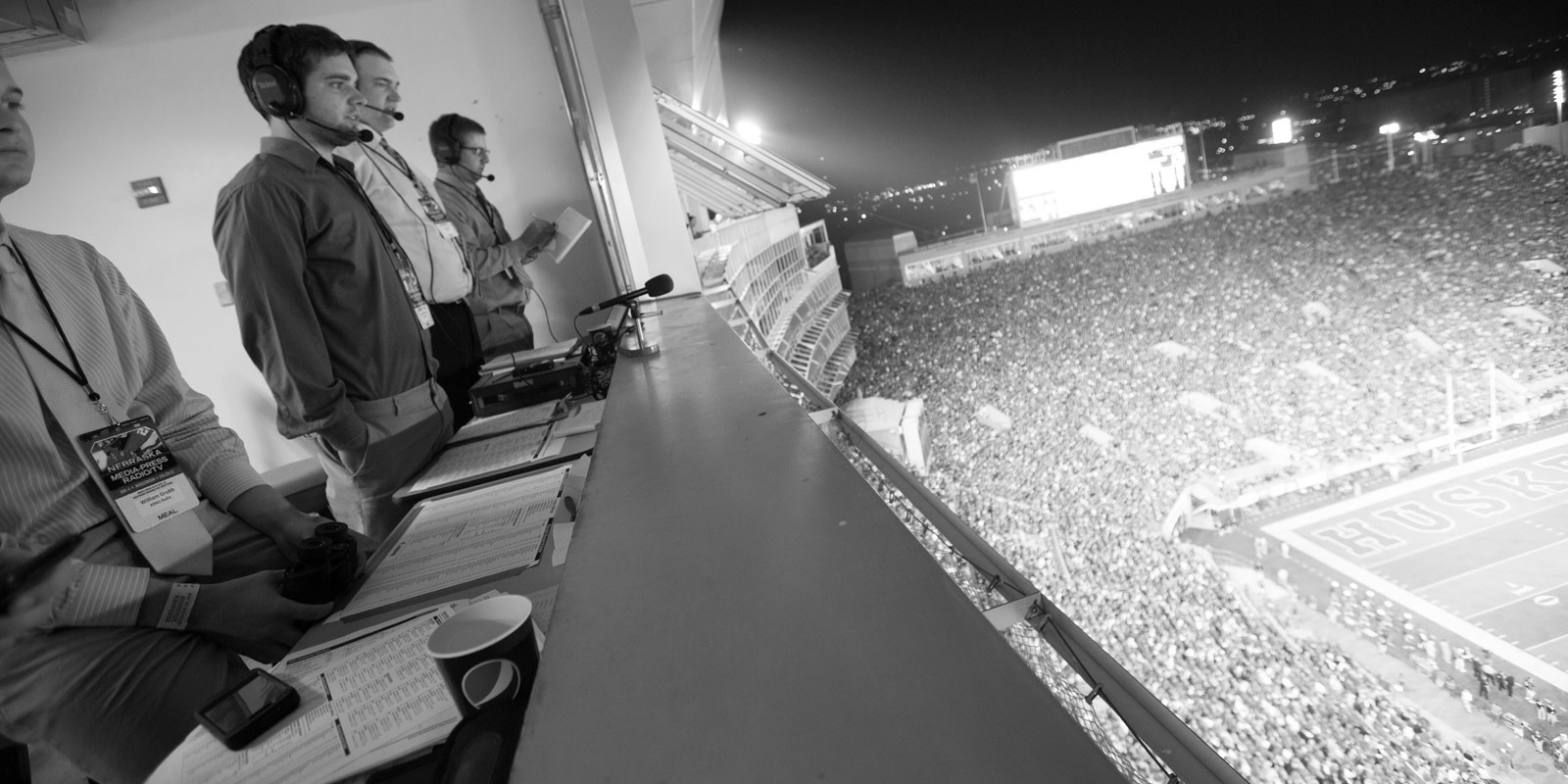 Broadcasting Students call a Nebraska football game from the press box: links to broadcasting page