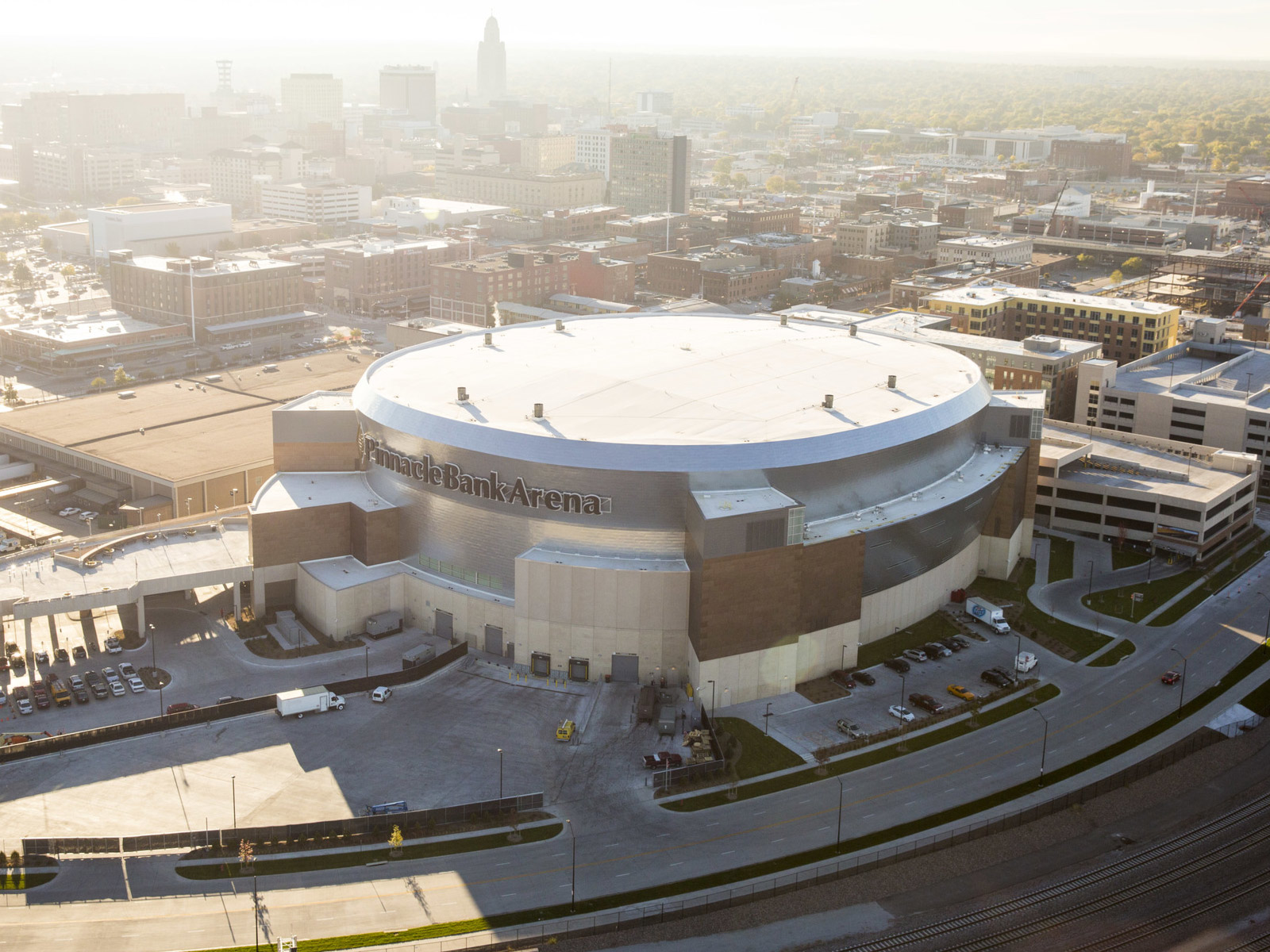 Pinnacle Bank Arena aerial shot
