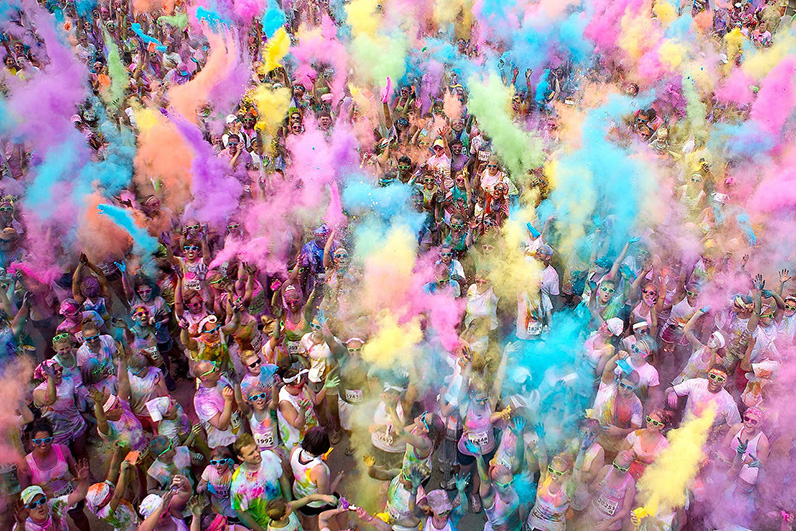 Anna Reed's Photo of Color Runners throwing various colored chalk