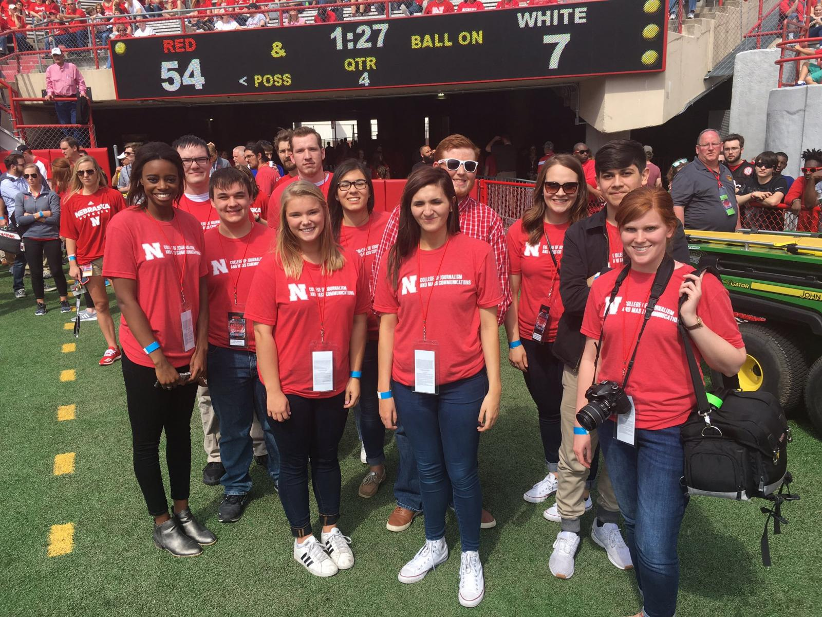 CoJMC students participate in the UNL Spring Game