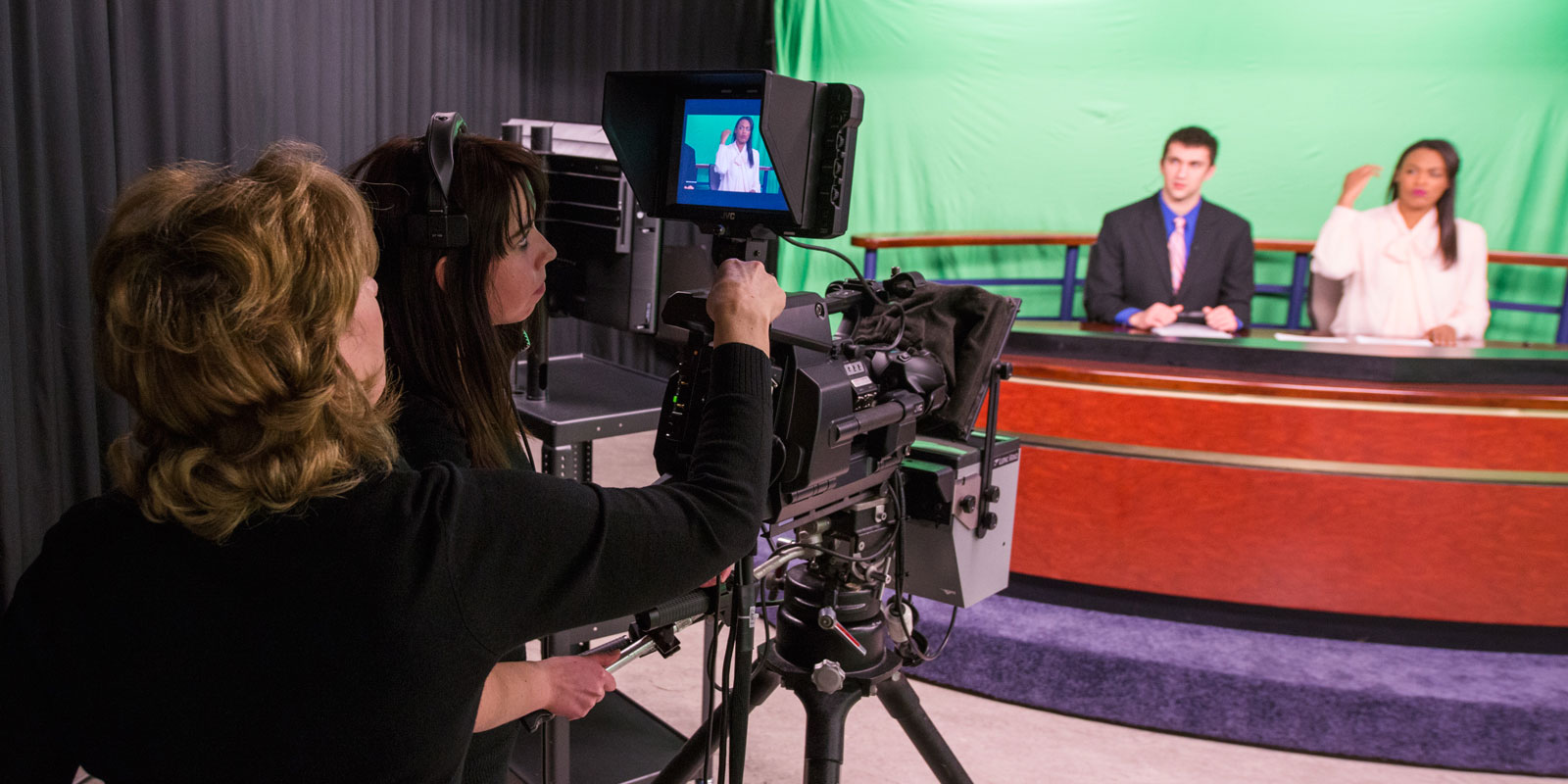Star City News production students prepare for a live broadcast