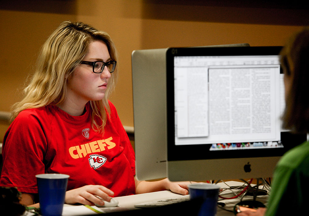 CoJMC student at a computer during her internship