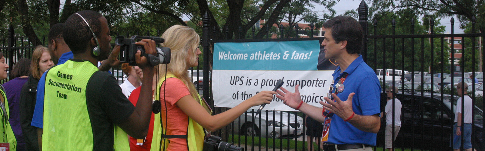 Photo of interview at Special Olympics