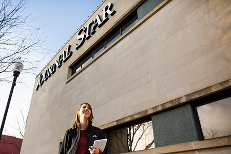 COJMC Student outside Journal Star headquarters