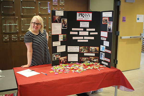 A PRSSA officer represents her student organization
