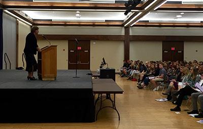 Dean Maria Marron speaks to NHSPA students