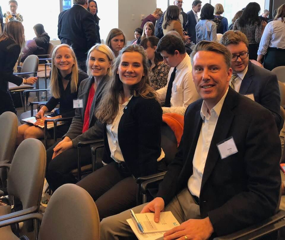 Lauryn Higgins, Holly Barr, Elizabeth Rembert and Phillip Carter, left to right, heard top journalism organization leaders share their thoughts on the field at the Fall 2018 meeting in New York City of the Society for Advancing Business Editing and Writing.