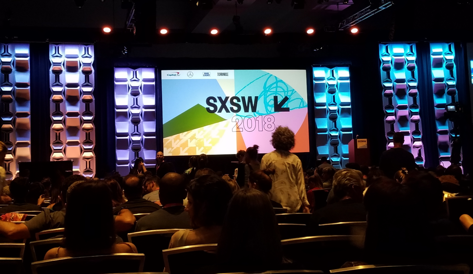 Getting ready for a keynote speech at the main stage of South by Southwest.
