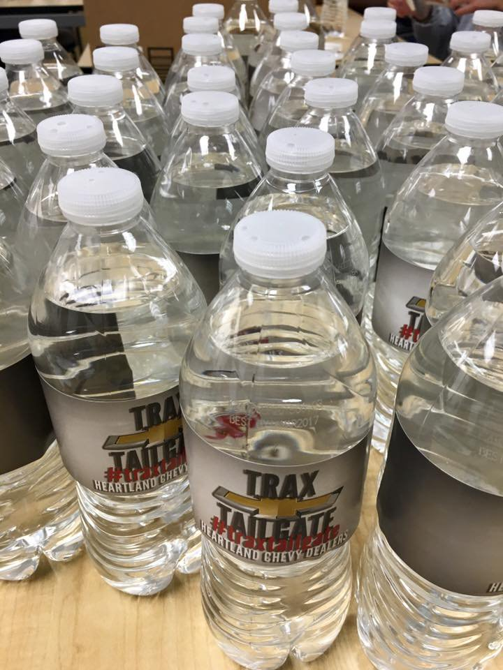 Chevy Trax Tailgate campaign water bottles