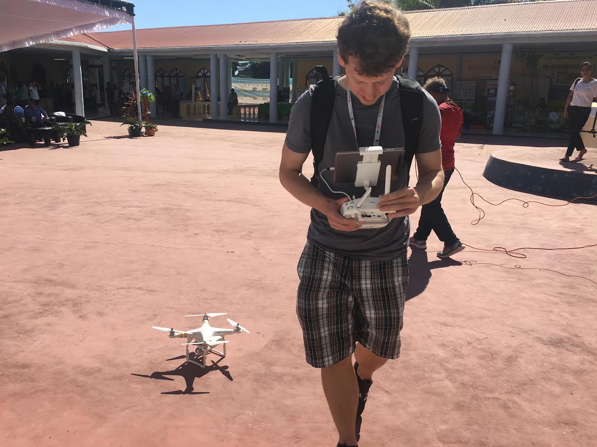 Ben Kreimer setting up a drone.