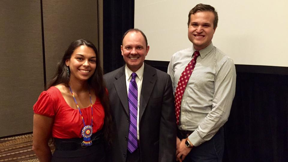 UNL students Rebekka Schlichting (left) and Alex Mallory (far right) met with U.S. Assistant Secretary for Indian Affairs Kevin Washburn.