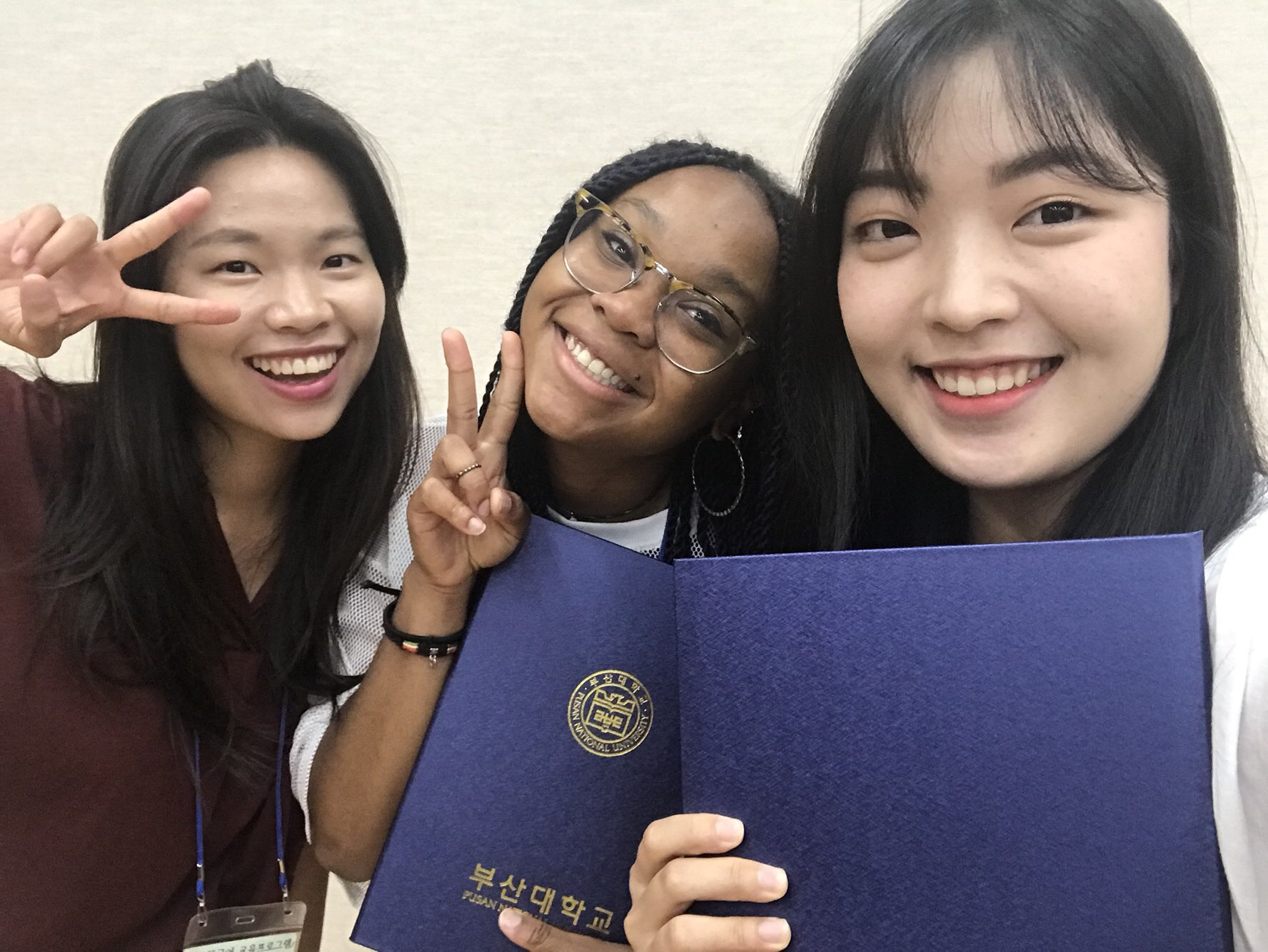 Young with other South Korean students