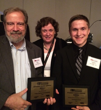 Associate Professor and KRNU General Manager Rick Alloway accepted the Student Public Service Announcement award