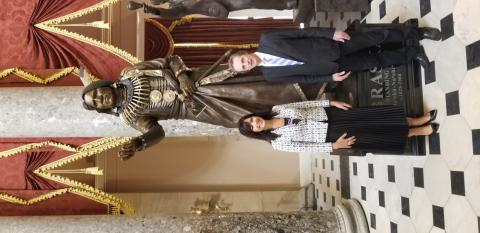 Professor Joe Starita attends the installation of a statue of Chief Standing Bear at the United States Capitol